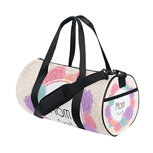 U LIFE Happy Mothers Day Floral Flowers Best Mom Sports Gym Shoulder Handy Duffel Bags for Women Men Kids Boys Girls