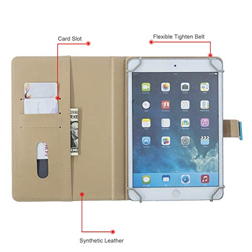 Dteck Universal-Schutzhülle für iPad 10,2 Zoll / 25,7 cm / 26,7 cm / Samsung 9,6 Zoll / 10,1 Zoll / Android Windows 10,1 Zoll / Lenovo 10,1 Zoll Tablet (Gold Blume Schmetterling)