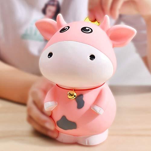 LJQLXJ Hucha Hucha de Resina Billetes Zodiac Animal Vaca Hucha Seguridad Infantil Caja de Monedas de Regalo Creativa para niños, Rosa Grande
