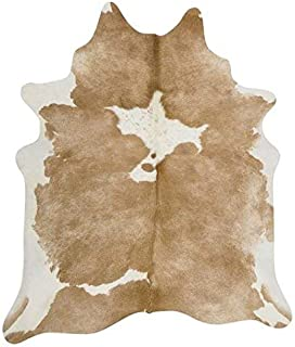 Tomtom Cowhides Butter Cream Cowhide Rug 100% Natural Leather Rugs 7' x '6