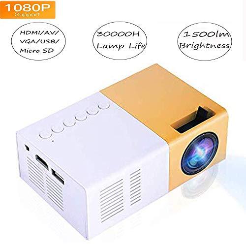 Video Mini proyector HD, LED para Cine en casa 4K TV Soporte para proyector de películas Teléfono portátil 1080P / HDMI/VGA/USB/TV Box/Laptop/DVD para al Aire Libre(EU)