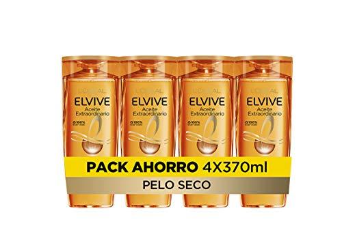 L'Oreal Paris Elvive Aceite Extraordinario Champú Nutritivo, Para Pelo Seco, Pack de 4 Unidades x 370 ml, Total: 1480 ml
