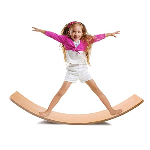 36 inch Wooden Wobble Balance Board,Natural Wood Balance Board,Yoga Board for Kids and Adults,Wood Rocker Board,Early Learning Curvy Board,Open Ended Learning Toy