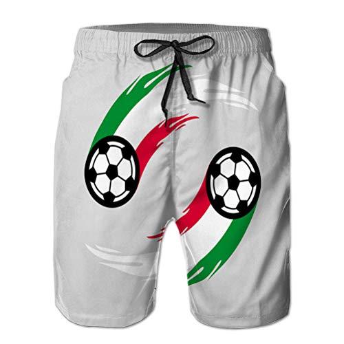 vbndfghjd Sommerferien Herren Strandhose Shorts Badehose Fußball oder Fußball mit Feuerschwanz in Italien Flagge M