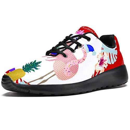 Zapatillas deportivas para correr para mujer, sombrero de Navidad, flamenco, palma de moda, de malla, transpirable, senderismo, tenis, color, talla 40.5 EU