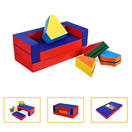 COSTWAY 4 in 1 Kindersofa & Kindertisch & Bett & Puzzle Matraze aus 8 Schaumstoffbausteine, Spielsofa, Kindersessel, Spielmatraze für Kinder im Vorschulalter, Babys und Schulkinder, mehrfarbig