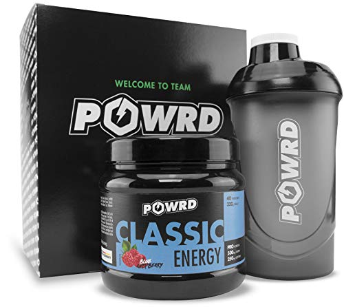 POWRD®️ CLASSIC ENERGY Blue Raspberry mit Shaker - Gaming Energy & Pre Workout Booster Drink Pulver - Himbeere - 320g 40 Portionen - für Gaming, Training, Lernen, Arbeiten