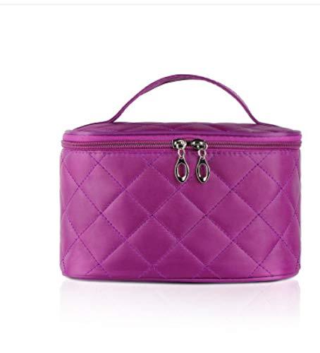 FRTU Beauty Case da viaggio Borsa cosmetica portatile da donna a doppia cerniera di grande capacità con borsa da viaggio multiuso a specchio viola