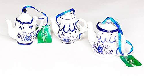 Kurt Adler Porcelain Delft Blue Teapot Ornament, Set OF 3