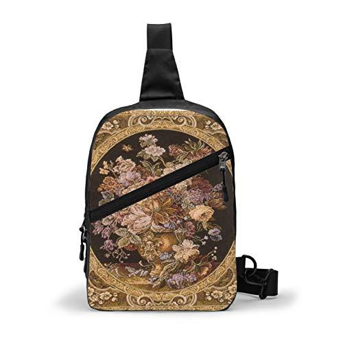 Hermoso cojín con tapiz antiguo en el pecho, mochila cruzada para viajes al aire libre, senderismo, mochila para hombres y mujeres