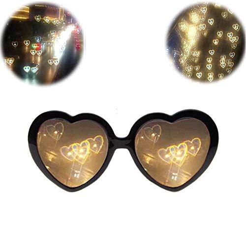 Hicollie 3D Brille Herzen Feuerwerk Beugungsbrille Spezialeffekt Licht Herz Effekt Beugungs Brille für Musik im Freien Party Bar Feuerwerk (Schwarz)
