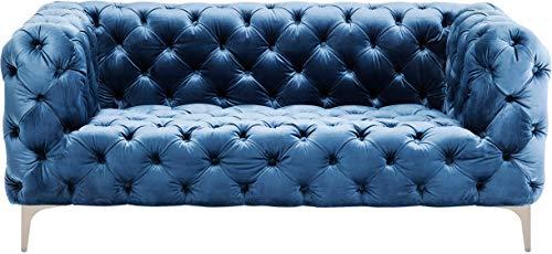 Kare Design Look Sofa, velvet blau, 180 cm