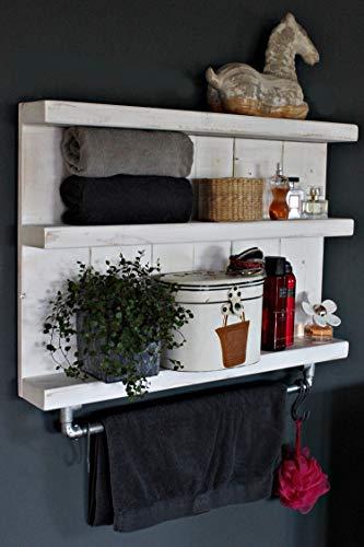 Holz Regal Badezimmer Hängeregal mit Stange Bad Handtuchhalter Shabby Vintage Weiß fertig montiert