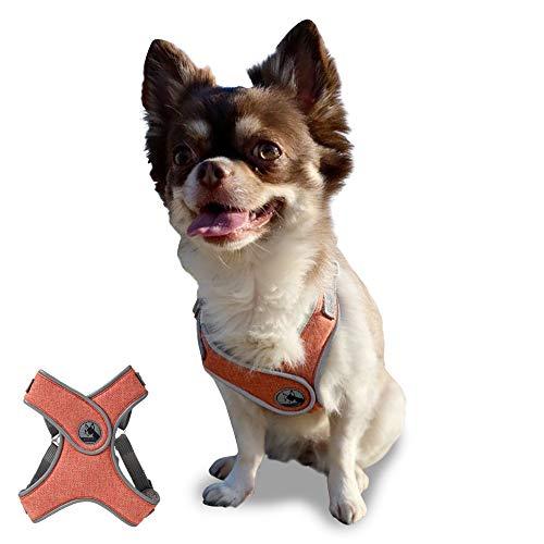 【Mellbo】犬 ハーネス 小型犬 中型犬 胴輪 簡単装着 4箇所サイズ調整可能 夜間反射 引っ張り防止抜けにくいデザイン 通気性 (オレンジ, XS)
