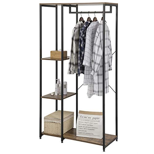 eSituro SGR0095 Kleiderständer Wäscheständer Garderobenständer Hängeregal mit Schuhregal Holz Metall Schwarzrohre und Vintage Platte
