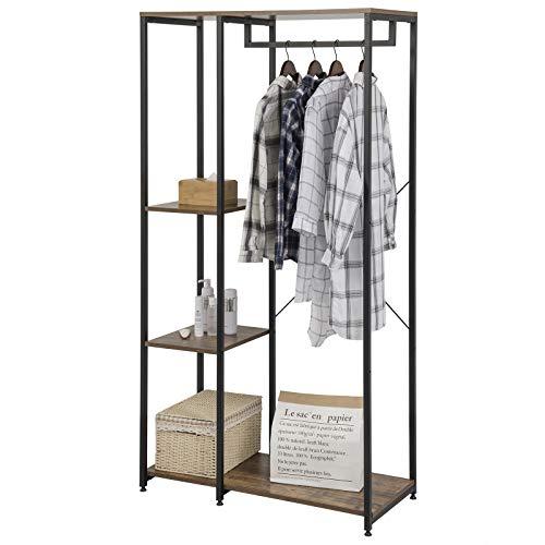 eSituro Heavy Duty Clothes Rail, Large Coat Stand Clothings Wadrobe Organizer, 4 Tiers Metal Storage Shoe Rack Cabinet Shelves Shelving Unit Vintage