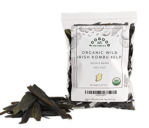 Certified USDA Organic Kombu Kelp Leaf, Dried Wild Irish Seaweed, non-GMO (4 ounces, 112 grams)