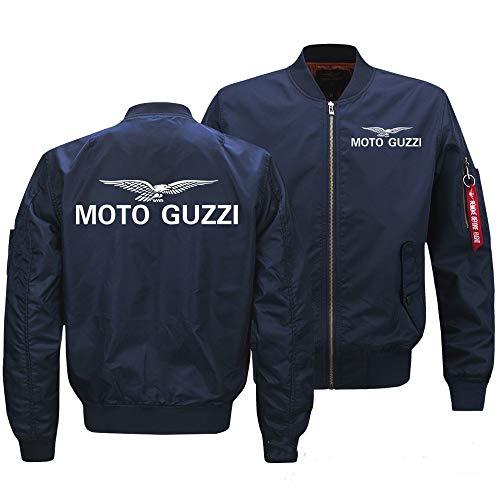 Mantel Flying Jacket Herren Outdoor Trade Frühling und Herbst Kleidung Herren Fashion Baseball Jacke Gr. XXL, Moto Guzzi Blau