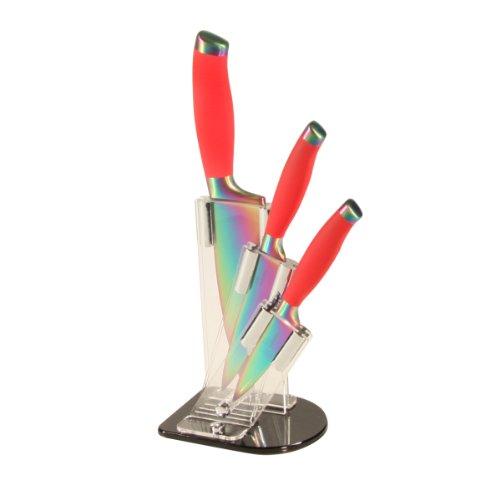 Tutti Cuisine GLO7481 Set de 3 Couteaux Revêtement Titane + Support Manche Rouge Lame d'arc en Ciel