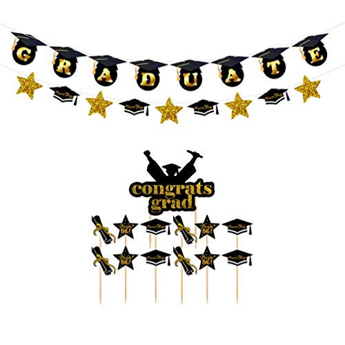 PRETYZOOM 14pcs 2021 Graduation Banner and Cake Toppers Paper Pull Flag Bunting Garland Wood Cupcake Stick Pick for 2021 Grad Ceremony Decoration