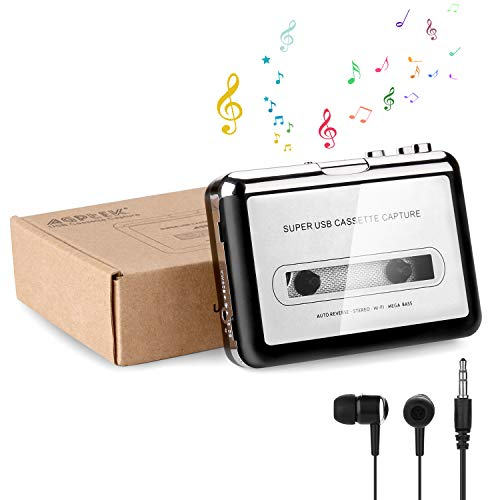 Cassette to MP3 Converter, AGPtek Portable Cassette Tape Recorder Player Capture Convert Box for Mac PC with Headphone USB Cable and Software