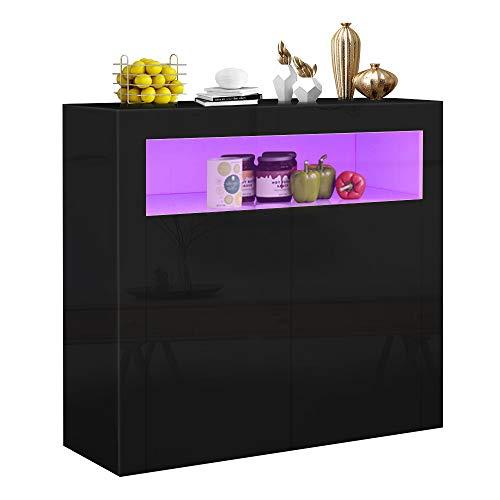 YOLEO Küchenschrank Sideboard mit LED-Leuchte Anrichte matt Hochglanz für Küche Esszimmer Wohnzimmer (schwarz, 100 x 92 cm)