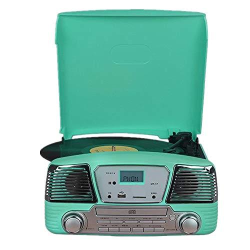 QinWenYan Giradischi HiFi Player con parapolvere in Grado di connettersi Bluetooth Vinile grammofono retrò Vinile Giradischi Lettore CD (Color : Green, Size : 31x32x14cm)