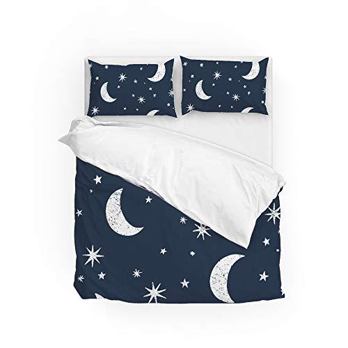 Conjunto de capa de edredom, capa de edredom, sem costura, lua, estrelas, céu noturno, decoração de casa, conjunto de cama de solteiro, 2 peças, capa de almofada