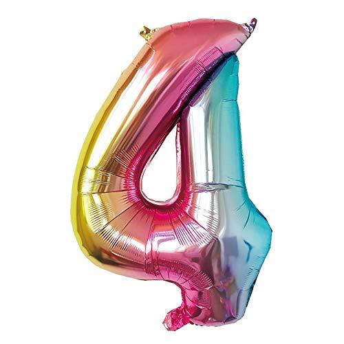 NOBRAND Globo Número 4 Multicolor, Decoración Boda Aniversario, Globo de Cumpleaños Fiesta Suministros Decoración Globo Party, SE Pueden INFLAR con Helio