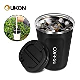 UKON Coffee Mugs Stainless Steel Double Wall Reusable Eco-friendly Vacuum Insulated Splash Proof Travel Thermos Coffee Cup with Tumbler Carrier Holder for Hot & Cold Drinks Party Gifts (380ML Black)