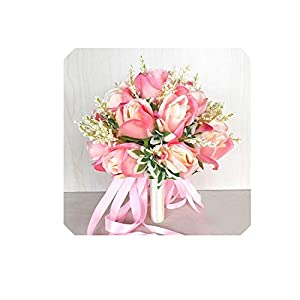 18 Head Silk Rose Wedding Bouquet for Bridesmaids Bridal Bouquets White Pink Artificial Flowers Mariage Supplies Home Decoration,Pink