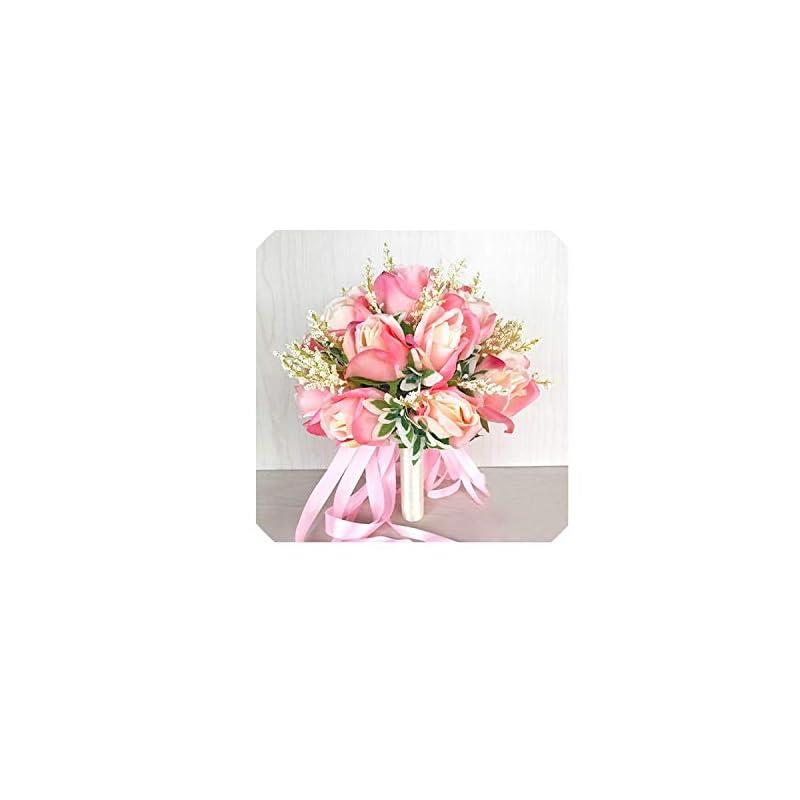 silk flower arrangements 18 head silk rose wedding bouquet for bridesmaids bridal bouquets white pink artificial flowers mariage supplies home decoration,pink