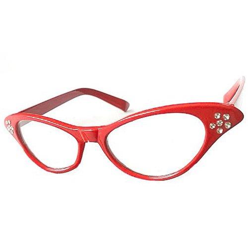 Gleader Gafas para Senoras Rock & Roll Fiesta de Disfraces - Rojo