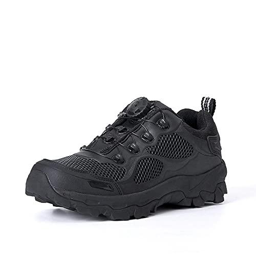 Fnho Botas de montaña Deportivas,Zapatos de Senderismo al Aire Libre,Botas tácticas de Ayuda Baja, Zapatos de Senderismo al Aire Libre-Negro_39