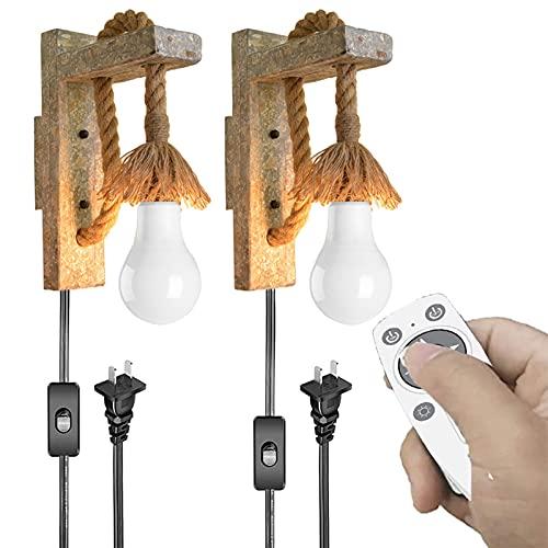 Enchufe de la pared de la pared de madera maciza Conjunto de 2,accesorios de luz de pared regulables con control remoto,enchufe en el cable la instalación cableado,para el corredor estudio dormitorio