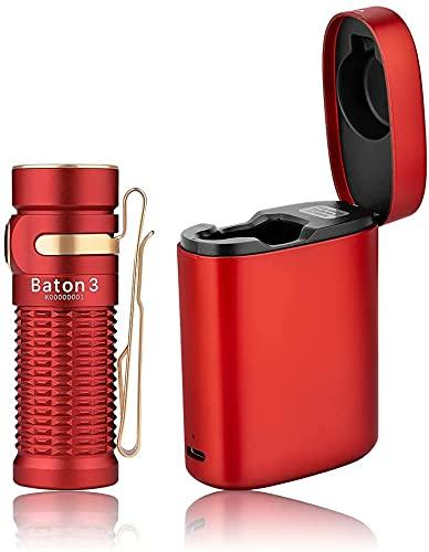 OLIGHT Baton 3 PREMIUM EDITION Mini LED Taschenlampe mit Drahtlosem Ladecase, Bis zu 94 Tage Laufzeit, Superheller 1200 Lumen 6 Lichtmodi IPX8 Wiederaufladbare Handlampe für Camping,Notfälle(Rot)