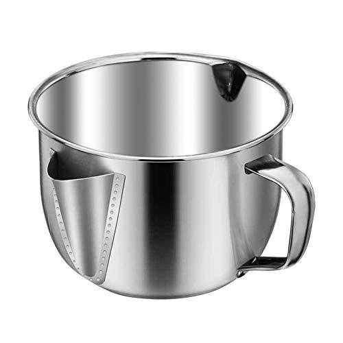 Oil Fat Separator1000ml Strainer Stainless Steel Oil Filter Soup Separator Strainer Bowl Gravy Oil Fat Separator Pot for Kitchen Cooking