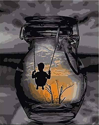 Cyniakiss Malen Nach Zahlen Erwachsene Die Schaukel In Der Flasche DIY Malen Nach Zahlen Ölgemälde Vorgedruckt Geschenk Für Erwachsene Kinder Home Haus Dekor 40 * 50
