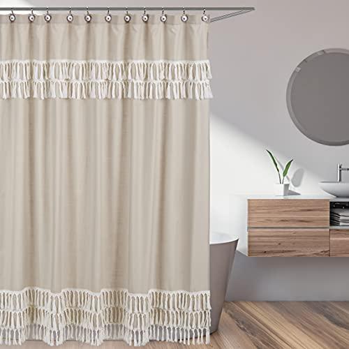 Sweet Jojo Designs Boho Fringe Bathroom Fabric Bath Shower Curtain - Gender Neutral Beige Tan Taupe Linen Tassel Macrame for Bohemian Woodland Farmhouse Botanical Leaf Collection