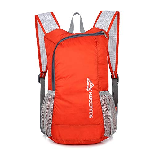 Jtoony Mountaineering Backpack Lightweight Unisex Outdoor Backpack Gym Bag Foldable Day Backpack Lightweight Folding Backpack Outdoor Bag Travelling Backpack Outdoor Sports Backpack (Color : Orange)