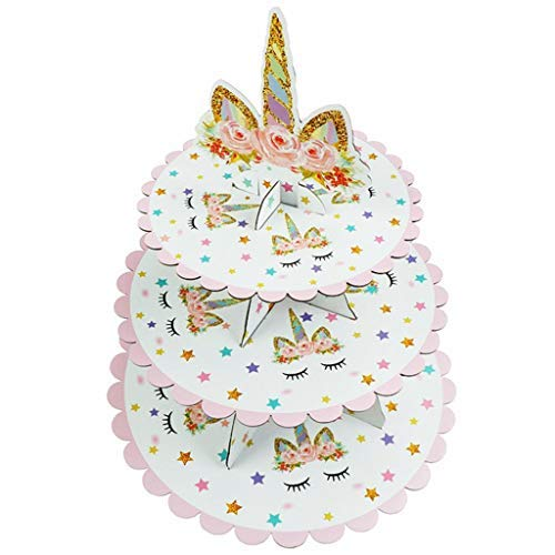 Mcree 3 Tier Unicorn Cardboard Cupcake Stand Dessert Cupcake Holder for Baby Shower Gender Reveal Party Kids Birthday Party or Unicorn Themed Party