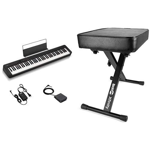 Casio CDP-S100 Pianoforte Digitale 88 Tasti Pesati & Rockjam Premium Imbottita Tastiera Panchina e Piano Sgabello Regolabile