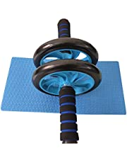Abdominal Exercise Roller Dual Wheel with Foam Handles-Includes Extra Thick Knee pad-Perfect Roller for Core & Ab Workouts Blue