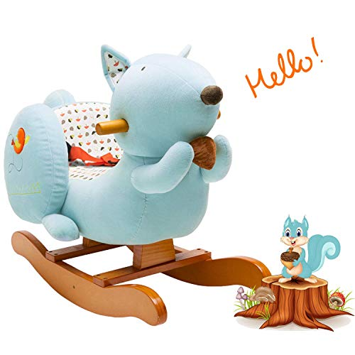 labebe - Baby Rocking Horse, Kid Ride on Toy, Toddler Rocker for 1-3 Year Old, Girl&Boy Wooden Rocking Horse, Outdoor&Indoor Rocking Toy, Infant Rocking Animal, Ride on Animal Rocker - Blue Squirrel …
