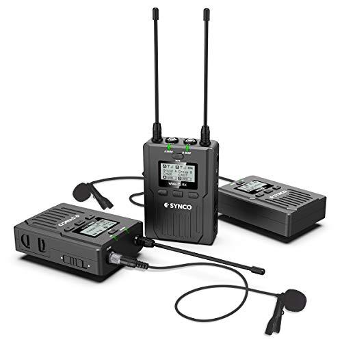 SYNCO Lavalier Mikrofon System Kamera UHF 96-Kanäle Wireless Dual Kabellos Funkmikrofon Set Ansteckmikrofon bis zu 120m Echtzeit-Überwachung für Interview DV DSLR Canon Sony Nikon Panasonic WMic-T2