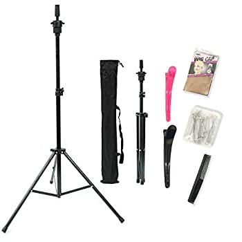 Wig Stand,Tripod Mannequin Head Stand,Adjustable Wig Head Stand For Canvas Block Wig Heads,Making Wigs,Styling,Cosmetology Hairdressing Trainning,Sturdy Wig Holder Stand With Carry Bag