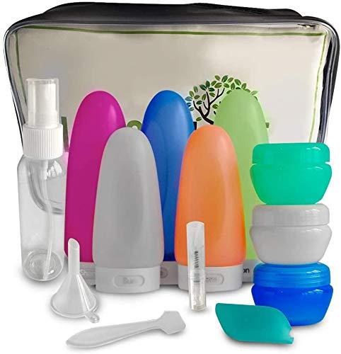 Tgbyhnujm Botellas de viaje, de silicona, a prueba de fugas, para artículos de tocador y cosméticos de menos de 100 ml, con bolsa de aseo transparente y botellas de aerosol.