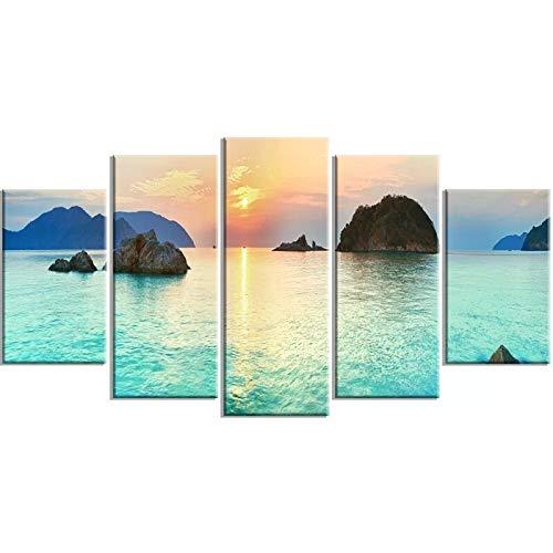 SJVR 5 lienzos Póster de Arte de Pared imágenes modulares Sunrise Panorama HD Impreso Lienzo 5 Piezas Pintura decoración del hogar Sala de Estar
