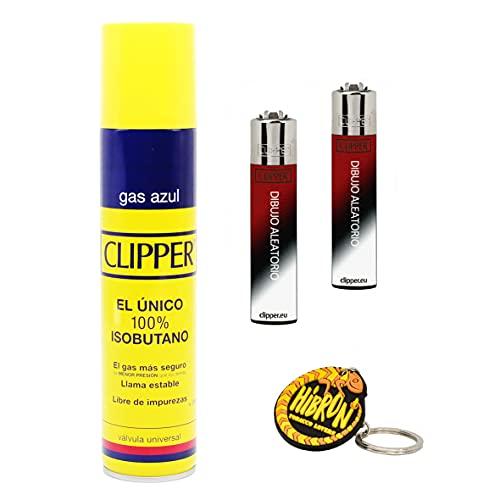 Clipper 2 Mecheros + 1 Botella Gas Azul 300 ml + 1 Llavero, Gas Sirve Para Recargar Soplete de Cocina