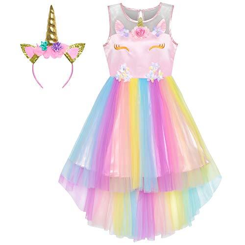Sunny Fashion Mädchen Kleid Einhorn Regenbogen Tüll Einhorn Stirnband Party Gr. 122